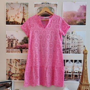Misslook Pink Eyelet Midi Lace Dress (Cover-up)